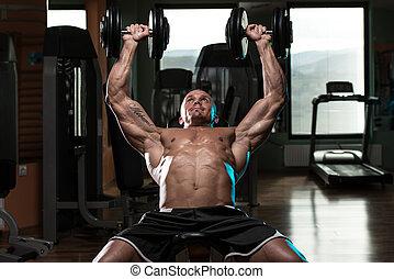 incliner, séance entraînement, pression banc, haltère, homme