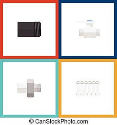 include, appartamento, conduttura, set, elements., tubo, termostato, pompa, radiatore, acqua, anche, vettore, objects., altro, flangia, icona
