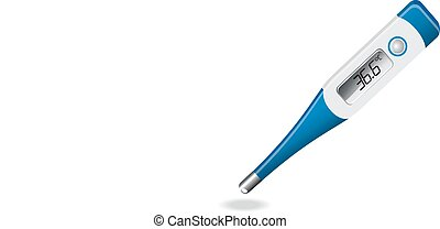 included electronic thermometer on a white background