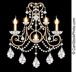included sconces with crystal pendants on black -...