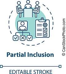 inclusion, partiel, concept, icône