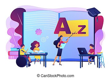 Inclusive education concept vector illustration - Disabled ...