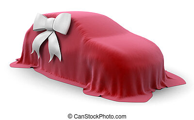 Incognito car with bow. Image with clipping path