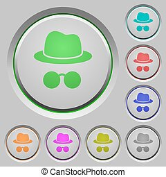 Incognito with glasses color icons on sunk push buttons