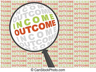 Income and outcome in magnifier.