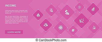 Income banner 10 icons concept. save money, profit, ...