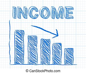 Income Down Graph Paper - Decreasing graph and income word...
