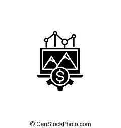 Income dynamics black icon concept. Income dynamics flat  vector symbol, sign, illustration.