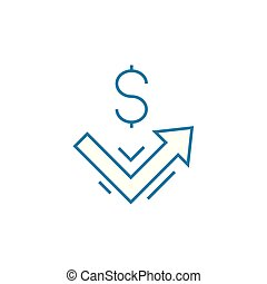 Income dynamics linear icon concept. Income dynamics line vector sign, symbol, illustration.