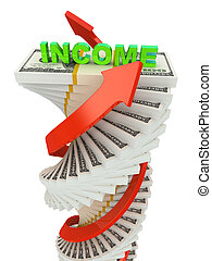 Income growth concept. Spiral dollar stack with arrows...