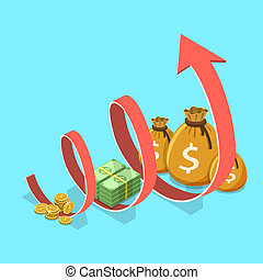Concept of financial growth, business productivity, ROI, financial performance.