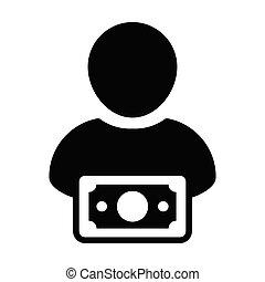 Income icon vector male user person profile avatar with...
