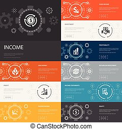 Income Infographic 10 line icons banners. save money, profit...