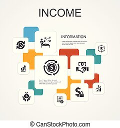 Income Infographic 10 line icons template. save money, ...