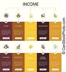 Income Infographic 10 option UI design. save money, profit, ...