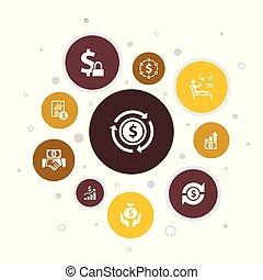 Income Infographic 10 steps pixel design. save money, profit...