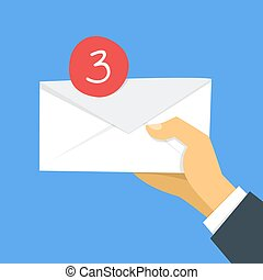 Income message in email concept. Hand holding envelope