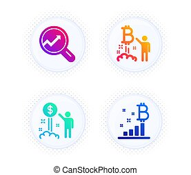 Income money, Analytics and Bitcoin project icons set. Bitcoin graph sign. Vector