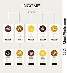 Income nfographic 10 steps UI design. save money, profit, ...