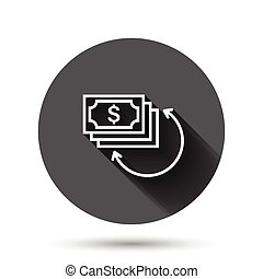 Income rate increase icon in flat style. Finance performance vector illustration on black round background with long shadow effect. Coin with growth arrow circle button business concept.