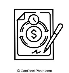 Income scheme line icon, concept sign, outline vector illustration, linear symbol.