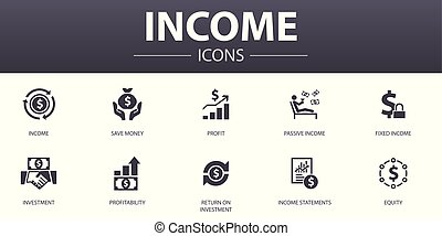 Income simple concept icons set. Contains such icons as save...