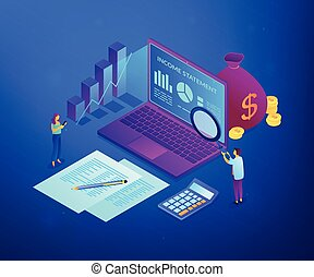 Income statement isometric 3D concept illustration.