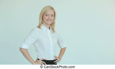 Income - Pretty blonde showing dollar bills in her hands