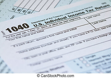Income Tax Return 1040 IRS Form - Macro horizontal photo of...