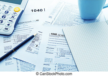 Income tax return form on work table