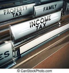 Income Tax - Taxes Concept - files with close up and focus...