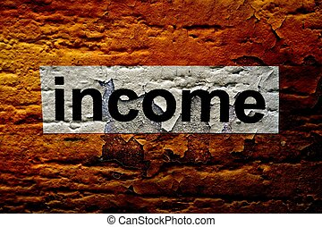 Income text on grunge background