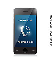 incoming call. modern smart phone illustration design
