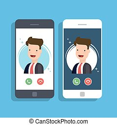 Incoming call on mobile phone. Businessman or manager calls on the smartphone. Accept or reject an incoming call. Vector flat illustration.