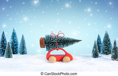 Incoming Cristmas Concept - Car Carrying A Christmas Tree In Snowy Landscape