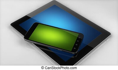 Incomming call concept on smart phone and tablet screen - 3D...