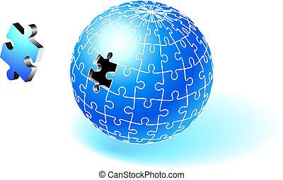 incomplet, globe, bleu, puzzle