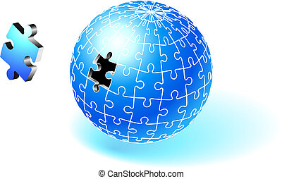 incompleto, globo, azul, rompecabezas