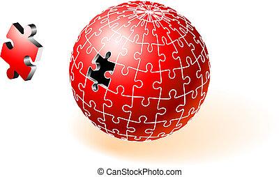 incompleto, globo, quebra-cabeça, vermelho