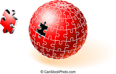 incompleto, globo, rompecabezas, rojo