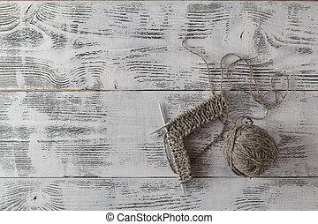 incompleto, tejido de punto, proyecto, con, agujas