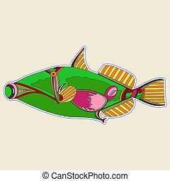 Incomprehensible green monster fish with a cork