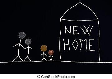 incomum, conceito, família, crianças, novo, desfrutando, lar