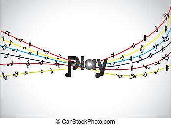 incomum, conceito, música, jogo, coloridos