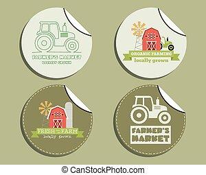 incomum, jogo, orgânica, loja, fazenda, etiquetas, -, theme., products., natural, eco, vetorial, ecologia, verde, adesivos, design.