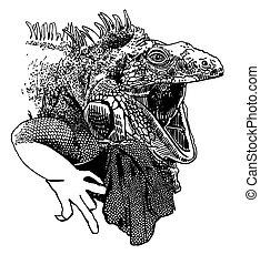 incomum, lagarto, boca, artwork, abertos, original, iguana
