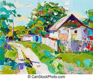 incomum, original, pintura óleo, ligado, lona, modernos, impressionismo, u