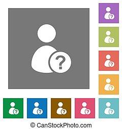 inconnu, carrée, utilisateur, plat, icônes