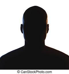 inconnu, mâle, personne, silhouette.
