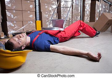inconscient, ouvrier, après, tomber, depuis, a, échelle